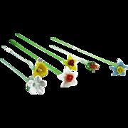 SIX Art Glass Long-Stemmed Multi-Colored Flowers