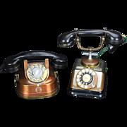2 Art Deco Rotary Style Phones, Copper, C. 1930