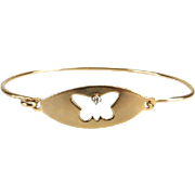 Diamond and 14 Karat Yellow Gold Bracelet With Butterfly Design - Perfect For Valentine's Day!