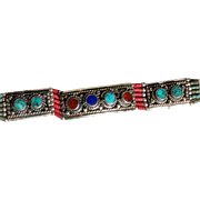 Beautiful Vintage Tibetan Bracelet Inlaid With Turquoise, Coral and Other Stones
