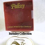 SALE Signed Palissy Porcelain Capricorn Heart Shaped Trinket Box