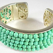 Unique Artisan Crafted Turquoise Beads and Filigree Cuff Bracelet in Sterling Silver – Stunningly Magnificent!