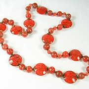 Vintage Murano Red Blown Glass Long Necklace from Italy