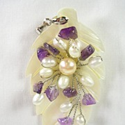 Mother of Pearl Amethyst Cultured Pearl Pendant in 18K White Gold