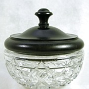 Vintage Crystal Glass Hobnail Bowl with Ebony Lid