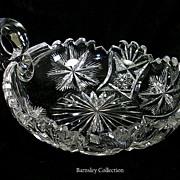 Antique American Brilliant Saratoga Pattern Cut Glass Nappy