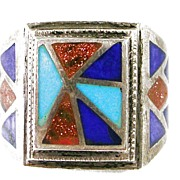 Vintage Native Indian Handcrafted Sterling Silver Ring with Turquoise, Lapis, and Copper Bronze Dust – Fabulous!