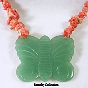 Vintage Coral Nugget Necklace with Jade Butterfly Pendant