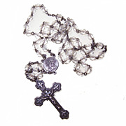 Vintage STERLING SILVER & Crystal Rosary - Fleur de Lis Cross!