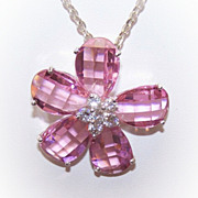 Stunning STERLING SILVER & Pink Crystal Rhinestone Floral Pendant!