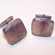 Hefty 1950s STERLING SILVER & Agate Cufflinks/Cuff Links!