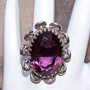H-U-G-E Sterling Silver & Amethyst Glass Paste Fashion Ring!