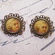 Pair C.1890 Gilt Metal & Celluloid LOUIS XIV Buttons!
