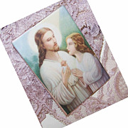 Small 1940s Pocket Religious Icon - Jesus with Child!