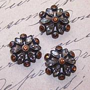 Set of 3 1920s Buttons - Gilt Metal & Rhinestones