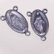 Pair STERLING SILVER Religious Center Medals - Virgin Mary!