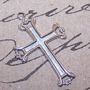 Simple Vintage STERLING SILVER Religious Cross Pendant!