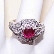 Vintage STERLING SILVER & Rhinestone Filigree Ring - Edwardian Influence!