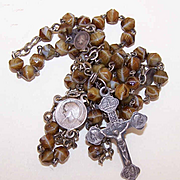 Vintage FRENCH SILVERPLATE & Art Glass Bead (Agate) Rosary!