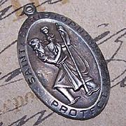Vintage STERLING SILVER Religious Medal/Pendant - Saint Christopher!