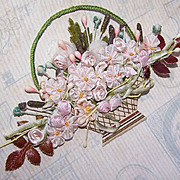 C.1950 French Silk Rayon Ribbon Applique - Basket of Flowers!