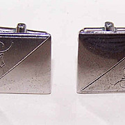 1950s Etched STERLING SILVER Cufflinks/Cuff Links!