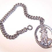 Vintage STERLING SILVER Single Link Charm Bracelet with LARGE St. Christopher Medal