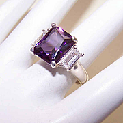 Beautiful STERLING SILVER Fashion Ring - Amethyst & Clear Glass Pastes!