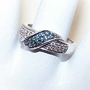 Vintage STERLING SILVER &  Blue/White Diamond Fashion Ring!