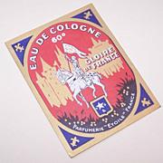 Vintage COLOGNE LABEL from France - Joan of Arc Front!