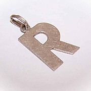 """Vintage 800/900 SILVER Initial Charm or Pendant - Letter """"R""""!"""
