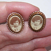 ANTIQUE VICTORIAN Gold Filled Cufflinks with Sepia Photo of Little Girl!