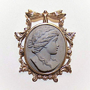 ANTIQUE VICTORIAN Lava Cameo of a Lady Set in a 14K Gold ART NOUVEAU Brooch/Pin!