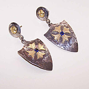 SALE Medieval Inspired 18K Gold, .40CT TW Sapphire & Silver Drop Earrings by James Cleland!