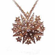 ANTIQUE VICTORIAN 18K Gold, Diamond & Natural Pearl Starburst Pendant/Pin!