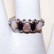 Vintage STERLING SILVER, Mother of Pearl & Black Onyx Ring!