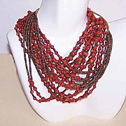Stunning NATIVE AMERICAN Red Coral & Heishe 6-Strand Necklace!
