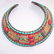 Signed 1987 M&J Hansen EGYPTIAN REVIVAL Collar Necklace!