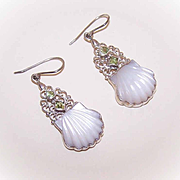 Stunning VINTAGE Carved Mother of Pearl & Peridot Drop Earrings!