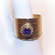 Vintage STERLING SILVER Vermeil & Amethyst Wide-Band Ring!