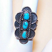 Vintage STERLING SILVER & Turquoise Cab Ring - Native American/Southwest Style!
