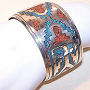NATIVE AMERICAN/Southwest Sterling Silver, Crushed Turquoise & Coral Cuff Bracelet!