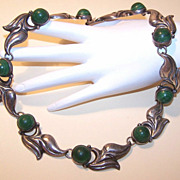Pre-Eagle Mexico STERLING SILVER & Dyed Green Onyx Necklace!
