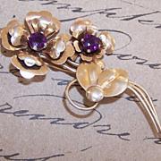 1950s HARRY ISKIN Sterling Silver Vermeil & Rhinestone Floral Pin/Brooch!
