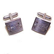 Vintage STERLING SILVER & Rhinestone Cufflinks by P&K Sterling!