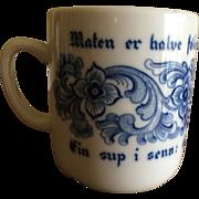 Vintage Porsgrund of Norway Blue and White Porcelain  Mug
