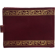 Vintage Cordovan Leather Wallet with Gold Embossed Trim Italy
