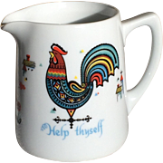 Vintage 1960s Swedish Berggren Creamer with Rooster Help Thyself