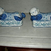 SALE Set of Two Blue Oriental Ceramic Figurines