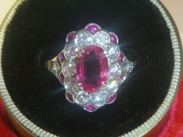 Vintage Platinum Pink Sapphire & Diamond Ring